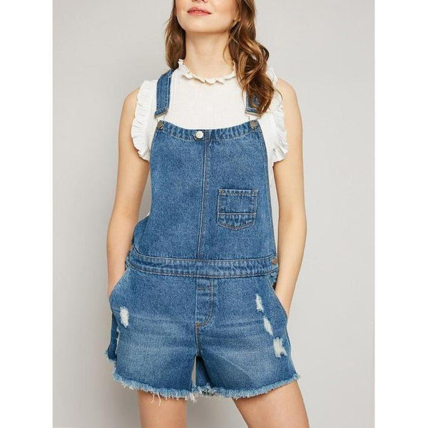 Obsessed with Distress Denim Overalls-Rompers-Composed Rose