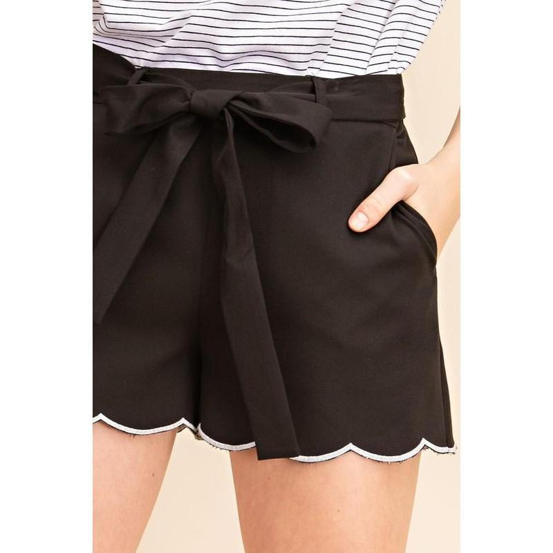 On the Edge Scalloped Hem Shorts-Shorts-Composed Rose