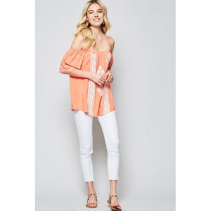 Peaches and Cream Off the Shoulder Top-Tops-Composed Rose