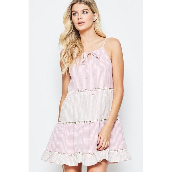 Pretty in Pink Pinstriped Babydoll Dress-Dress-Composed Rose