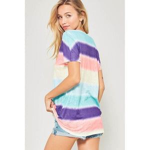 Rainbow Bright Burnout Tee-Tops-Composed Rose