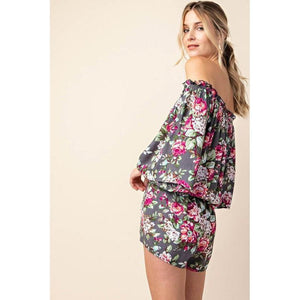 Romping Through The Roses Off-The-Shoulder Romper-Rompers-Composed Rose