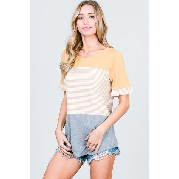 Ruffled Buttercup Color Block Shirt-Tops-Composed Rose