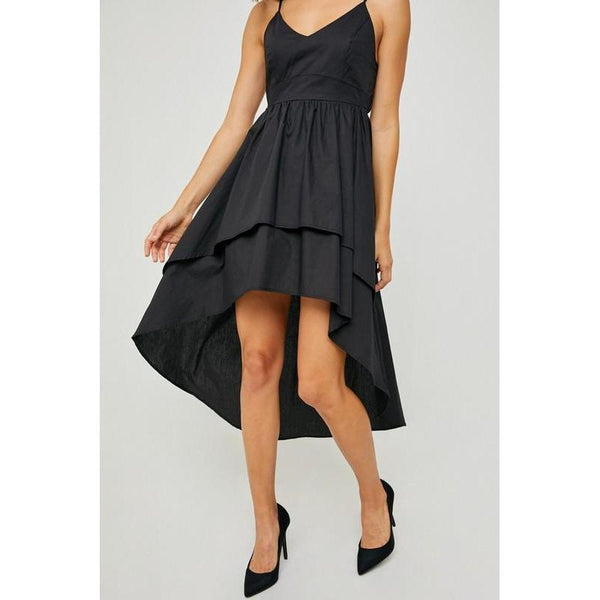 Runway Style High Low Black Dress-Dress-Composed Rose