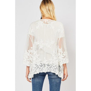 Sheer Romance Short Lace Kimono-Kimono-Composed Rose