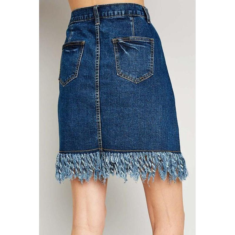 Sunday Down South Denim Frayed Skirt-Skirt-Composed Rose
