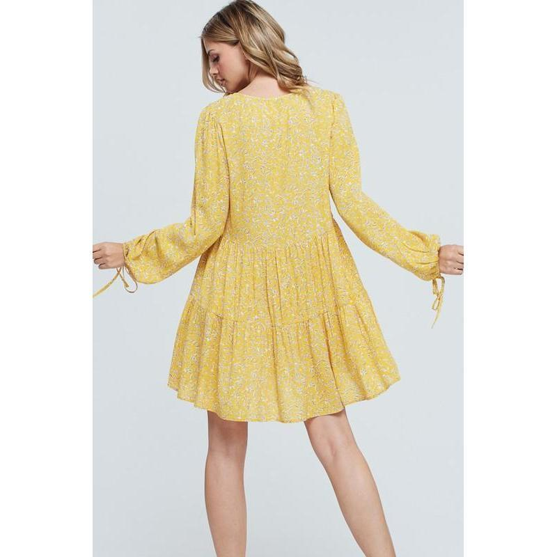 Sunshine and Dandelions Mini Dress-Dress-Composed Rose