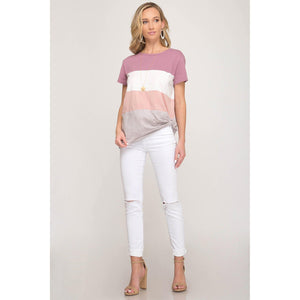 "Sweet ""Tee"" with a Twist Color Block Top-Tops-Composed Rose"