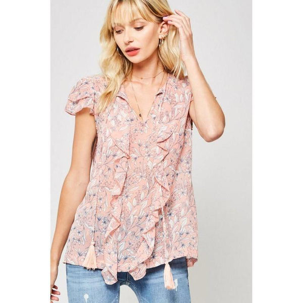 Sweet Temptations Peach Floral Blouse-Tops-Composed Rose