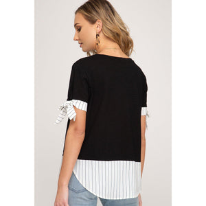 Tie it Up Short Sleeve Top-Tops-Composed Rose