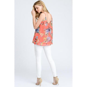 Tropical Punch Floral Pleated Tank-Tops-Composed Rose