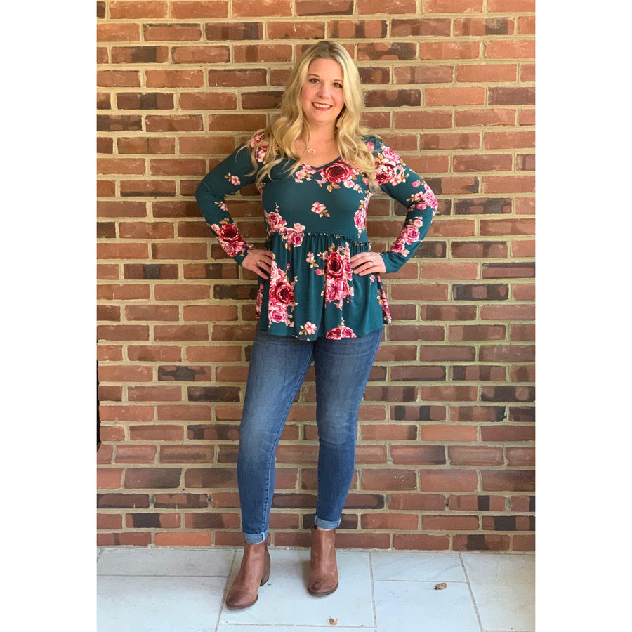 Unapologetically Floral Babydoll Tunic Top