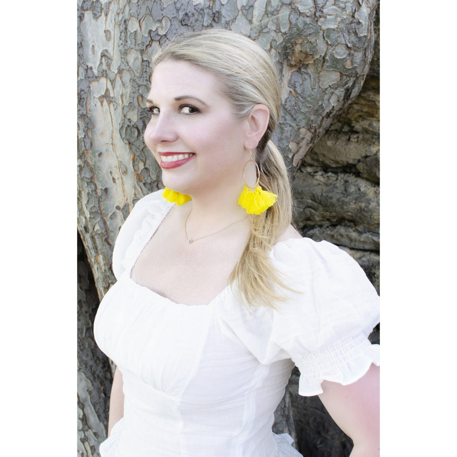 Yellow Tassel Hoop Earrings-Earrings-Composed Rose
