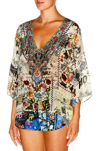MEMORY LANE V NECK OVERSIZED BLOUSE