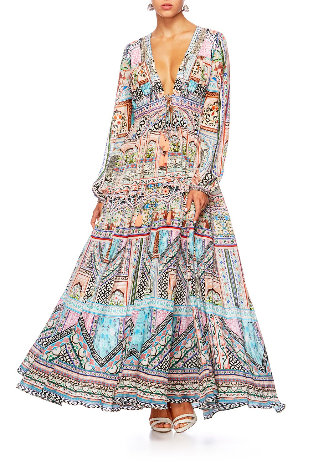 CAMILLA LADY LAKE PEASANT DRESS W TIE FRONT