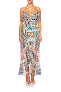 CAMILLA LADY LAKE LONG WRAP DRESS W FRILL