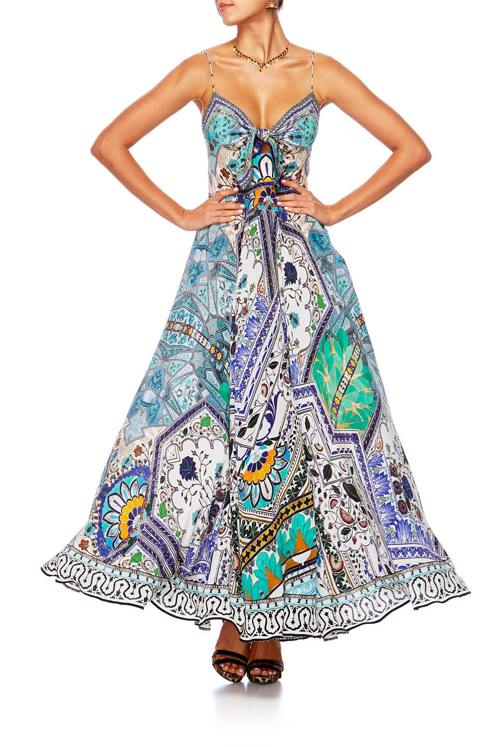 CAMILLA EVERLASTING UDAIPUR LONG DRESS W TIE FRONT