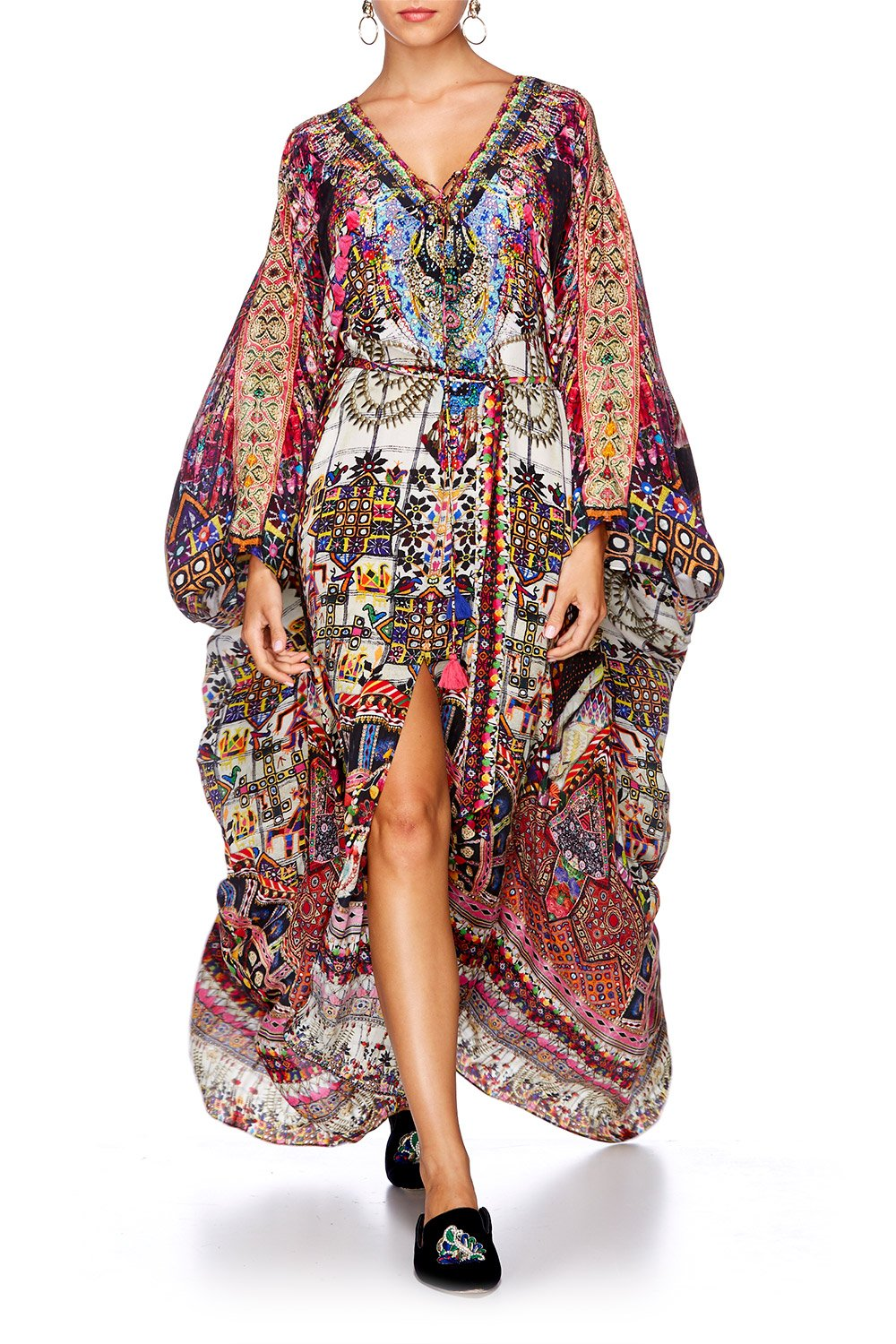 TINY DANCER SPLIT HEM LACE UP KAFTAN