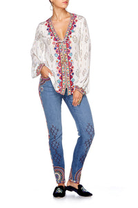 LOVE SONG PEASANT BLOUSE W FRONT LACING