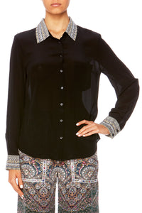 BLACK CROSS OVER BLOUSE W COLLAR