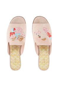 CAMILLA LIGHT PINK PEEP TOE SLIPPER