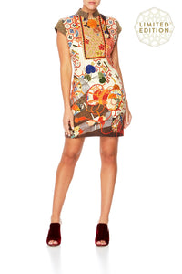 CAMILLA KISSING THE SUN SHORT DRESS W MANDARIN COLLAR