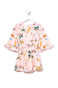 KIDS PLAYSUIT WITH FRILL SLEEVE OVER THE RAINBOW