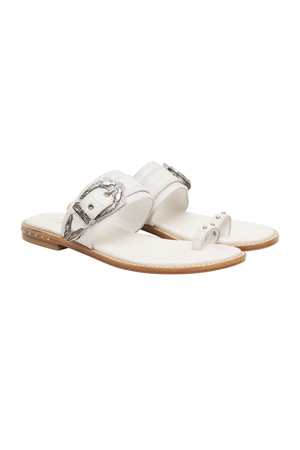 BIRD BUCKLE TOE LOOP SLIDE SOLID WHITE