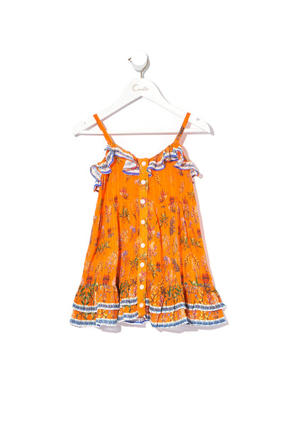 KIDS BUTTON THROUGH FRILL DRESS GONE COAST