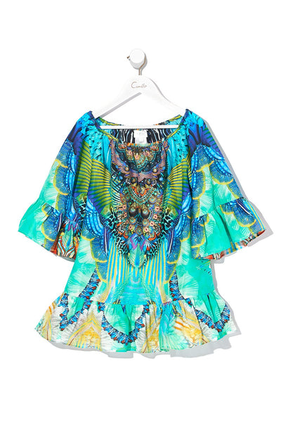 KIDS A-LINE FRILL DRESS REEF WARRIOR