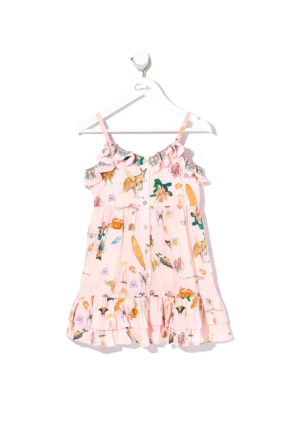 INFANTS BUTTON THROUGH FRILL DRESS OVER THE RAINBOW