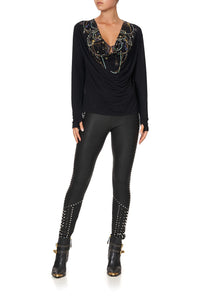 COWL BACK LONG SLEEVE TEE PUNK OF PRIMROSE
