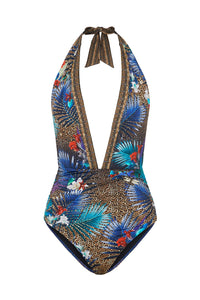PLUNGE NECK HALTER ONE PIECE RAINBOW ROOM