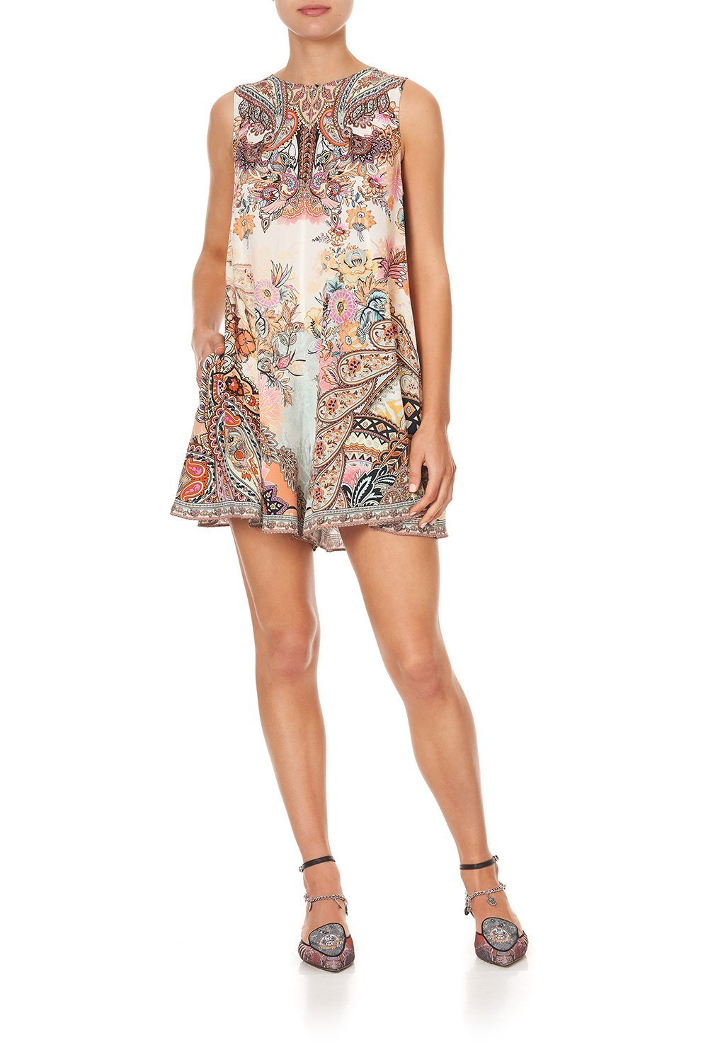 SLEEVELESS FLARED PLAYSUIT CARNABY DISCO