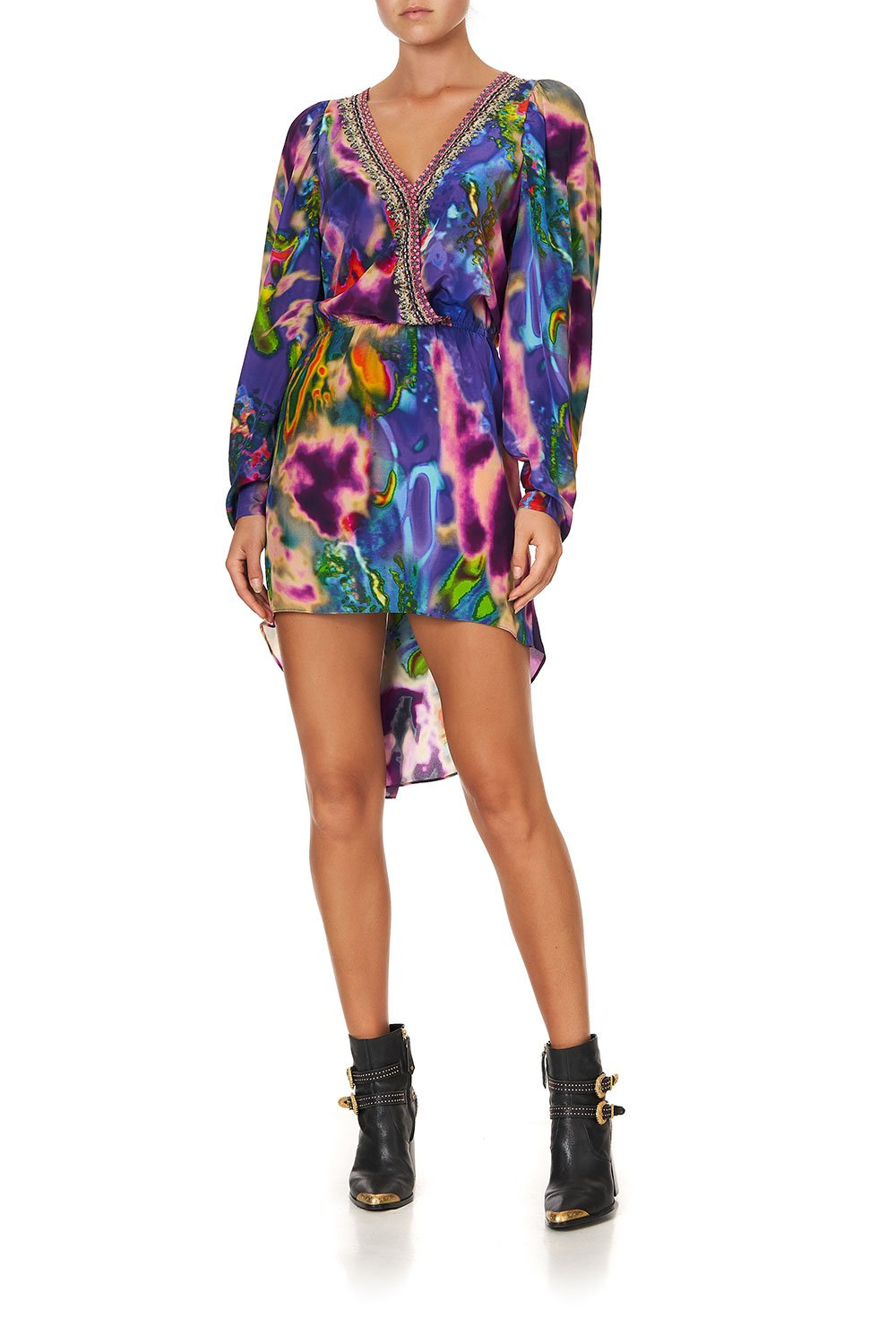 CROSS FRONT HIGH LOW MINI DRESS ACID ABBEY