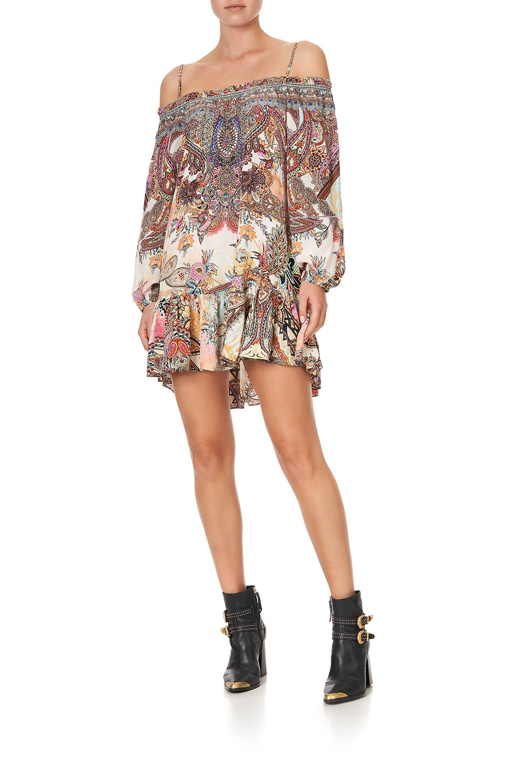 OFF SHOULDER DRESS WITH STRAPS CARNABY DISCO