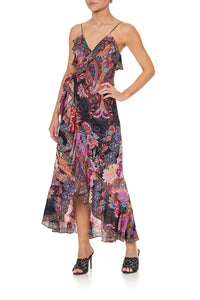 LONG WRAP DRESS WITH FRILL SWINGING SIXTIES