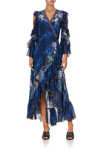 RUFFLE SLEEVE WRAP DRESS CAMDEN MOON