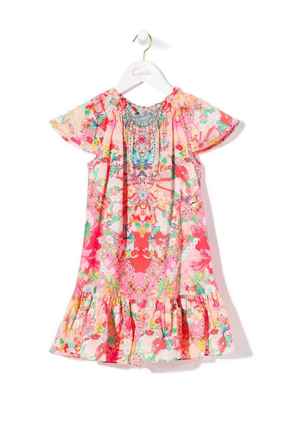 KIDS' SHORT DRESS WITH SHIRRING KIMONO KISSES