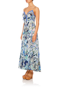 LONG DRESS WITH TIE FRONT CLOUD DANCER
