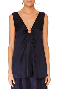 WIDE STRAP U-RING TOP SOLID NAVY