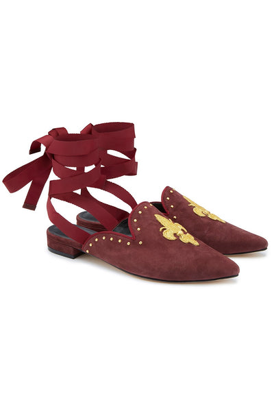 POINT SLIPPER AND TIE BURGUNDY