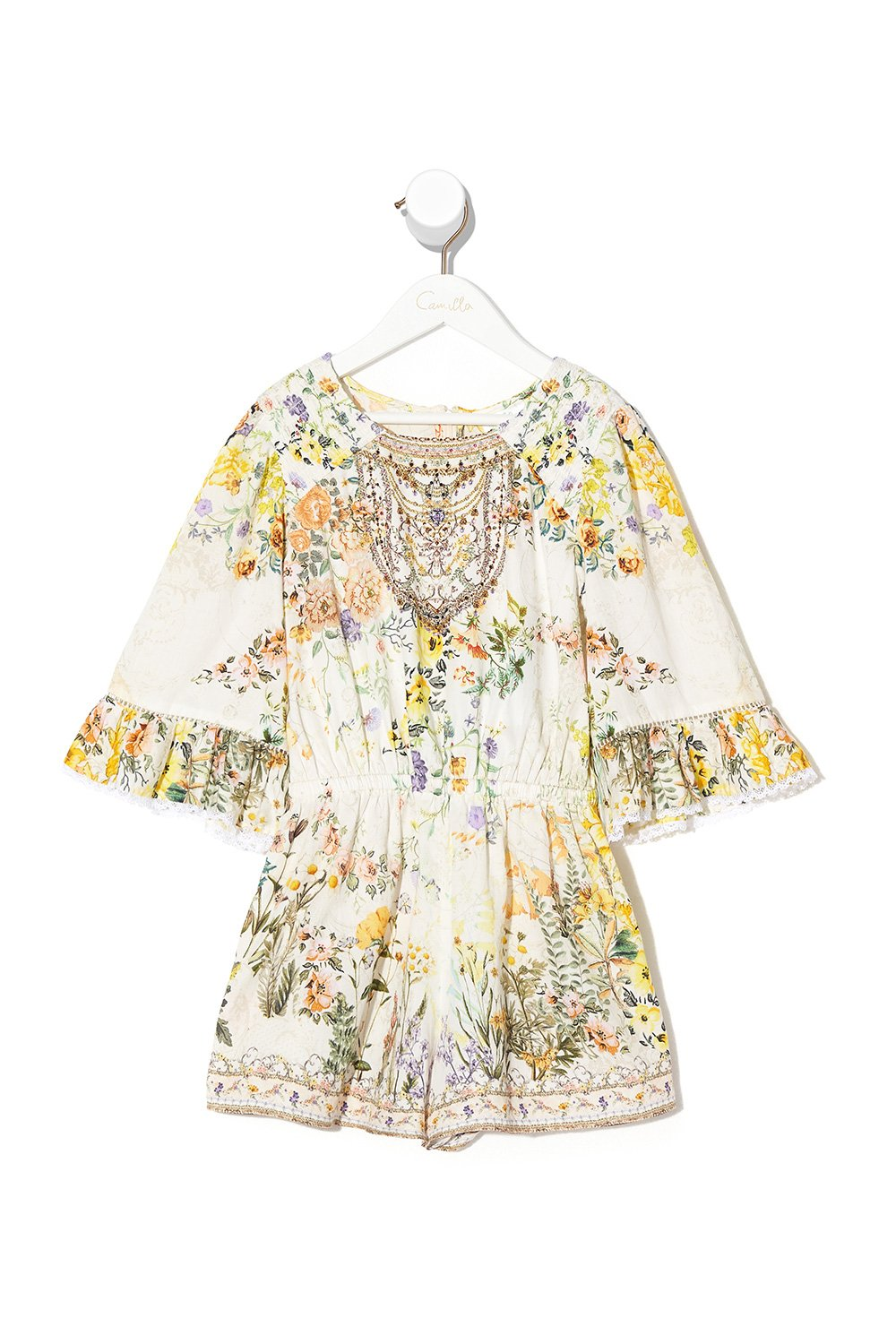 KIDS PLAYSUIT WITH TRIM IN THE HILLS OF TUSCANY