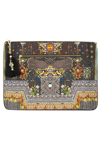 BEHIND CLOSED DOORS LARGE CANVAS CLUTCH