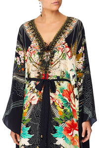CAMILLA QUEEN OF KINGS SPLIT HEM LACE UP KAFTAN