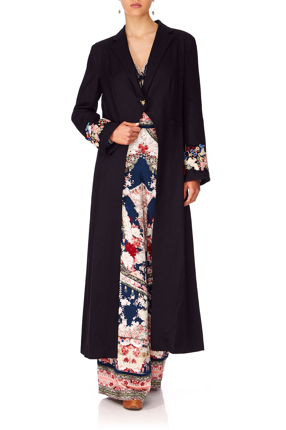 CAMILLA TWIN SHADOW LONG CUT AWAY COAT