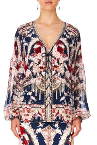CAMILLA TWIN SHADOW PEASANT BLOUSE WFRONT LACING