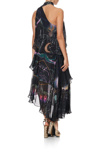 ASYMMETRICAL NECK TIE DRESS MIDNIGHT MOON HOUSE