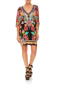 CAMILLA PAINTED LAND BAT SLEEVE DRESS