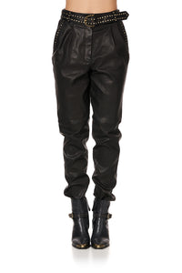 BELTED TROUSER WITH DRAPED SIDE - FLOW STUDIO 54